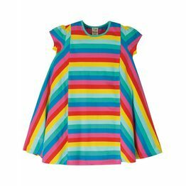 Frugi Elodie Twirly Dress Flamingo Multi Stripe