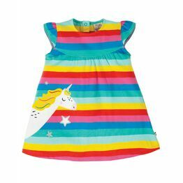 Frugi Little Lola Dress, Flamingo Multi Stripe/Unicorn