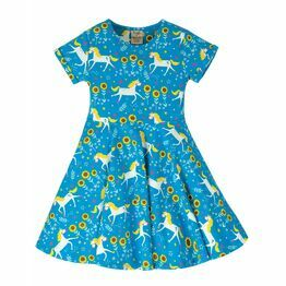 Frugi Spring Skater Dress, Unicorn Skates