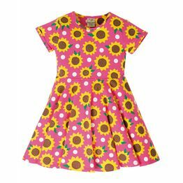Frugi Spring Skater Dress, Flamingo Sunflowers
