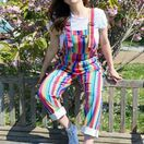 Run & Fly Bright Stripe Rainbow Stretch Twill Dungarees additional 1