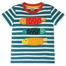 Frugi Sid Applique T-Shirt, Steely Blue Stripe/Fish additional 1
