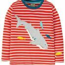 Frugi Discovery Applique Top, Koi Red Stripe/Shark additional 1
