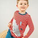Frugi Discovery Applique Top, Koi Red Stripe/Shark additional 2