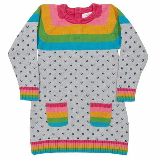 Kite Rainbow Knit Heart Print Dress