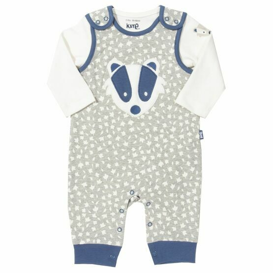 Kite Badger Appliqué Dungaree Set