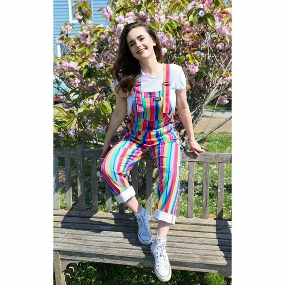 Run & Fly Bright Stripe Rainbow Stretch Twill Dungarees