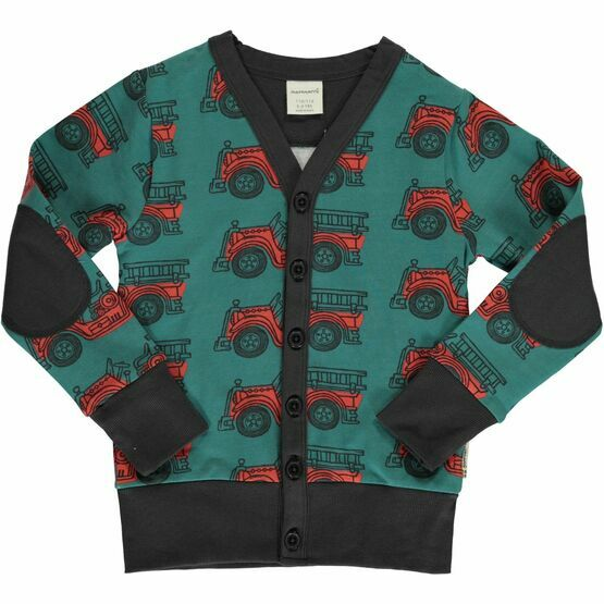 Maxomorra Vintage Fire Trucks Cardigan V Sweat