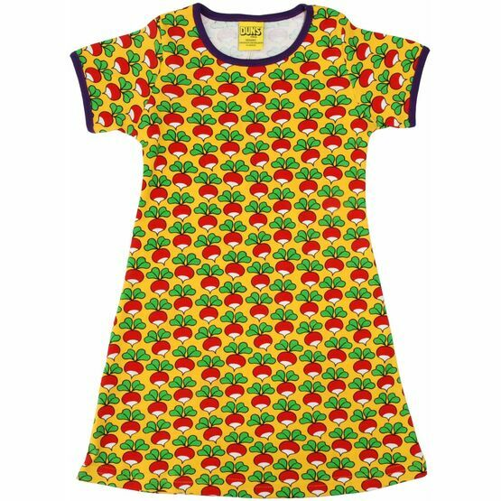 DUNS Sweden Adult Radish Yellow Short Sleeve A-Line Dress (Last Two)
