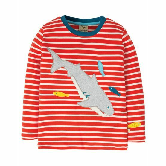 Frugi Discovery Applique Top, Koi Red Stripe/Shark