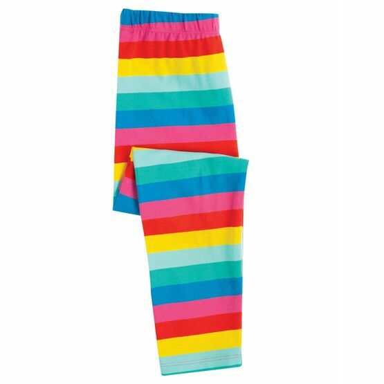 Frugi Libby Printed Leggings,  Flamingo Multi Stripe