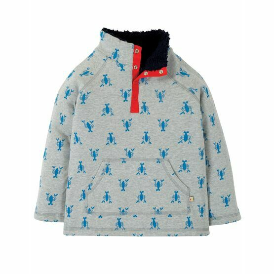 Frugi Snuggle Fleece, Grey Marl Lobster