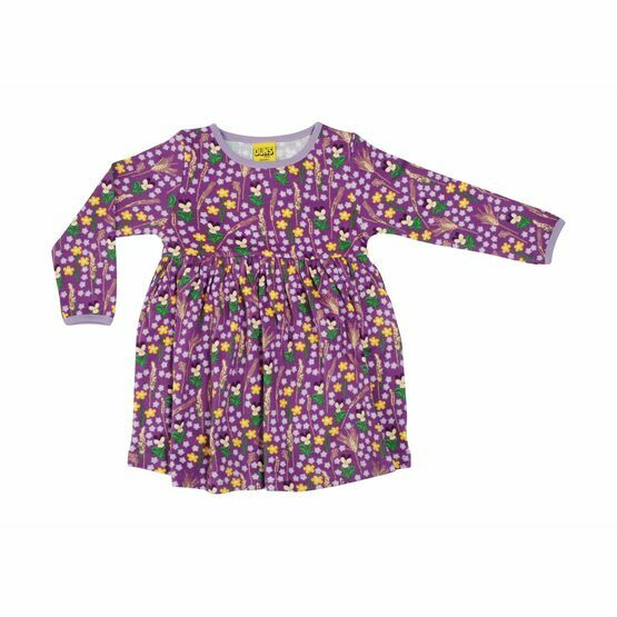 Duns Meadow Purple Long Sleeved Gather Dress